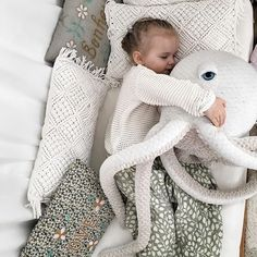 Octopus-mania 🐙Thank you so much Happy MI for the lovely picture! Raise your . Octopus-mania 🐙Thank you so much Happy MI for the lovely picture! Raise your hand if you love this stuffed animal as muc. Sewing Toys, Baby Sewing, Baby Kind, Baby Love, Pet Toys, Kids Toys, Big Stuffed Animal, Stuffed Animals, Octopus Stuffed Animal