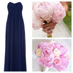 Long navy bridesmaid dress, light pink peony bouquet