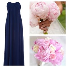 short navy bridesmaid dress, light pink peony bouquet. Needs a light pink sash.