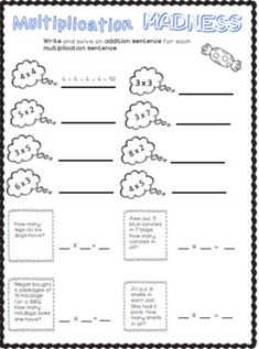 My Multiplication Packet - Multiplication Fact Practice by Ms Naomi's Resources Repeated Addition Multiplication, Multiplication Facts Practice, Italian Words, Third Grade Math, Group Work, Word Problems, Math Centers, First Step, Small Groups