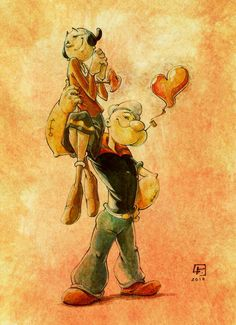 They are #Popeye & sweetie #OliveOyl on excelent classic cartoon of the #Comic all time ...