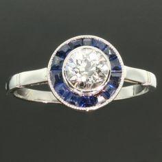 Sapphire diamond Art Deco ring platinum  by adinantiquejewellery, $6114.00