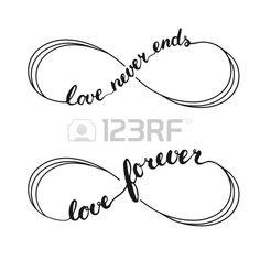 Infinity liefde symbool tattoo met de oneindigheid teken. Handgeschreven kalligrafie belettering tekst Liefde voor altijd and Love Never Ends voor de uitnodiging en wenskaart voor Valentijnsdag. Stockfoto - 51427283