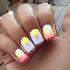 Triangle nail art.