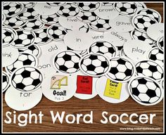 Fun game for practicing sight words.  Dolch 220 sight words printed on soccer balls!
