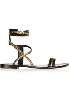 Lanvin Metallic-trimmed leather sandals | NET-A-PORTER