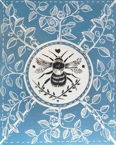 Little Bee Black Original lino cut print by mangle prints ; Art And Illustration, Linocut Prints, Art Prints, Block Prints, Stoff Design, I Love Bees, Bee Art, Save The Bees, Bee Happy