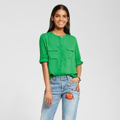 Women's Collarless Button Up Blouse - Who What Wear Green Xxl
