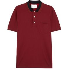 Gucci Burgundy stretch piqué cotton polo shirt ($405) ❤ liked on Polyvore featuring men's fashion, men's clothing, men's shirts, men's polos, gucci mens shirts, mens burgundy shirt, mens stretch shirt, men's cotton polo shirts and mens burgundy polo shirt