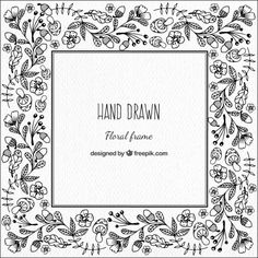 Frame with hand-drawn floral details Premium Vector