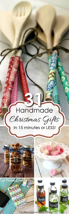 Christmas Is Coming : Handmade gifts are a wonderful way to show you care! Here are 31 handmade gifts you can make in 15 minutes or less, without breaking the bank or your schedule! Easy holiday DIY xmas gifts