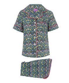 Liberty Print Green Strawberry Thief Short Cotton Pyjama Set //