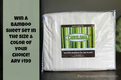 Win a Bamboo Sheet Set from Cariloha, winner's choice of size & color! ARV up to $199