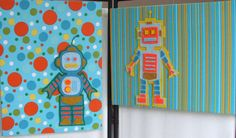 Another option for wall art - possible diy, paper backing with cut out felt robots...