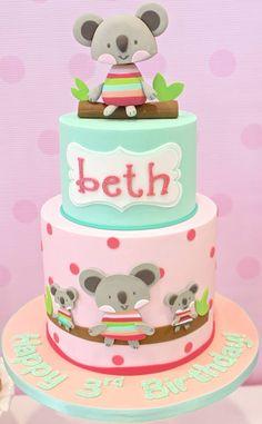 Koala cake - by Celebrate with Cake Pretty Cakes, Beautiful Cakes, Amazing Cakes, Cakepops, Fondant Cakes, Cupcake Cakes, Cake Design Inspiration, Animal Cakes, Birthday Cake Girls