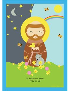 Francis of Assisi, Pray for Us! Saint Francis of Assisi is the patron saint of animals, the environment, and Italy Catholic Crafts, Catholic Kids, Catholic Saints, Catholic Homeschooling, Patron Saints, Kids Church, St Francis Assisi, Clare Of Assisi, Teaching Religion