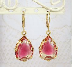 Ruby Glass Jewel Earrings Dangles Ruby Red by dfoxjewelrydesigns