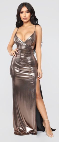 All Eyes On Me Foil Dress - Bronze - trends_pintradio Satin Dresses, Sexy Dresses, Evening Dresses, Prom Dresses, Metallic Dress, Sequin Dress, Bodycon Dress, Bronze Dress, Prom Dress Shopping