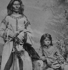 PAWNEE FATHER AND HIS SON , circa 1867