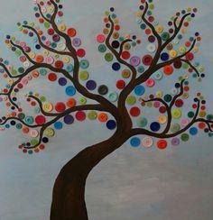 Lente - Een boom versierd met verschillende kleuren. Hier is gebruik gemaakt van knopen, maar dit kan ook door middel van verf. Onderbouw/middenbouw/bovenbouw