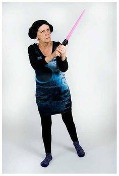 What an awesome grandma! She's rocking a fashionable Star Wars Death Star dress, which is available for sale from BlackMilk. Costume Makeup, Cosplay Costumes, Furiously Happy, Young At Heart, Death Star, Geek Girls, Fangirl, Rebel Scum, Geek Stuff