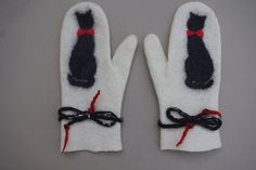 Felted Mittens Merino Wool  White Black Cats by LBFelt on Etsy