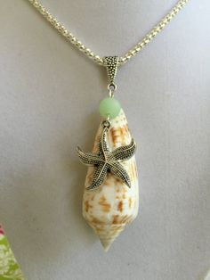 Seashell Sea Glass and Silver Starfish Necklace by joytoyou41