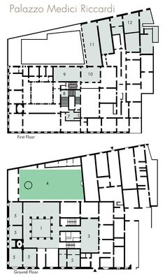 Palazzo Medici-Riccardi floor plan -  1. CourtYard 2. Apartment of the Marquise Capponi 3. Court of the mules 4. Garden 5. Showrooms 7. Chapel of the Magi 8. Mainstears 9. Hall Sonnino 10. Madonna of Filippo Lippi 11. Luca Giordano Gallery 12. Ricciardiana Library