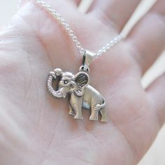 Silver elephant necklace, sterling silver elephant pendant Elephant Necklace Silver, Elephant Jewelry, Bead Shop, Lucky Charm, Minimalist Jewelry, Go Shopping, Elephants, That Way, Jewelry Shop