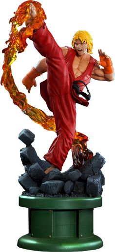 Street Fighter Ken Masters with Dragon Flame Statue by Pop C   Sideshow Collectibles