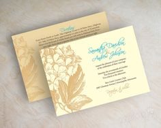 Wedding invitations, hydrangea flowers in khaki brown, tan, ivory and teal