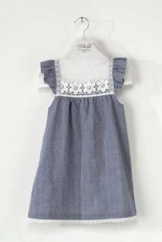Blue & white gingham DRESS cotton, with crochet trimmings - ref: *chá dress* Little Girl Dresses, Girls Dresses, Flower Girl Dresses, Baby Girl Party Dresses, Baby Dress, Frock Patterns, Kids Frocks, Creation Couture, Gingham Dress