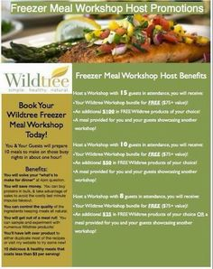 Host Wildtree Freezer Meal Workshop and get your kit for free!  www.mywildtree.com/jengerstenberger