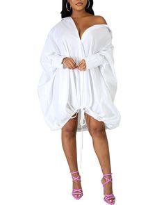 US$ 36.9 - Drawstring Slouchy Shirt Dress - m.wokeep.com Slouchy Shirt, Fall Outfits For Teen Girls, Dress Brands, Shirt Dress, Dressing, Shirts, Long Sleeve, Sleeves, Fashion