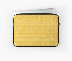Retro Grace - Stripes Laptop Sleeves by Ashley Behnke (Mustard). - Macbook Air, PC