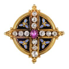 A Gothic Revival Diamond, Enamel and Gold Pendant. Designed as a cross of old-mine diamonds centring a cabochon ruby. The enamel background ornamented with light blue enamel trefoils and gold accents. Victorian Jewelry, Antique Jewelry, Vintage Jewelry, Art Nouveau, Jewelry Stores Near Me, Bollywood Jewelry, Antique Brooches, Enamel Jewelry, Gold Jewelry