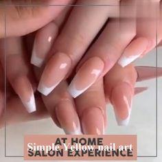 nails uv gel videos - nails uv gel & nails uv gel design & nails uv gel coffin & nails uv gel tips & nails uv gel videos & diy gel nails with uv light & uv gel nails extensions & uv gel nails designs Yellow Nails Design, Yellow Nail Art, Essie, Silk Nails, Diy Acrylic Nails, Art Nails, Clear Acrylic, Gel Nails At Home, Ballerina Nails