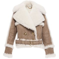 Burberry Oversized Shearling Biker Jacket ($6,000) ❤ liked on Polyvore featuring outerwear, jackets, coats, burberry, brown jacket, biker jacket, moto jacket, double breasted jacket and burberry jacket