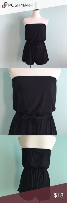 Black Strapless Romper Super comfortable black cotton strapless romper. Tie in front on waist. Elastic band on top of romper. Great for summer and fall! Size small by Mossimo supply co. Mossimo Supply Co. Other