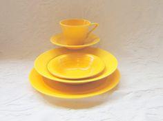 Vintage Dinner Set Art Deco Bowl Plate Cup by slatternhouse5, $102.25