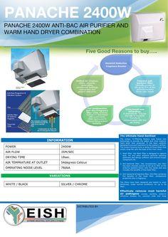PANACHE 2400W ANTI-BAC AIR PURIFIER AND WARM HAND DRYER COMBINATION Hand Dryer, Air Purifier, Hand Sanitizer, Warm, Products, Gadget