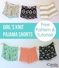 Free pattern: Girls knit pajama shorts
