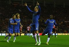 Fernando Torres of Chelsea celebrates scoring his second goal from the penalty spot during the Barclays Premier League match between Sunderland and Chelsea at Stadium of Light on December 8, 2012