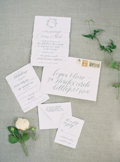 Elegant calligraphy is only complimented by a mix of vintage stamps: http://www.stylemepretty.com/2015/08/14/17-all-white-invitation-suites-that-are-anything-but-vanilla/