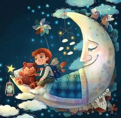 27 New Ideas for illustration art cute artworks Illustration Mignonne, Children's Book Illustration, Wallpaper Fofos, Art Mignon, Moon Art, Illustrations And Posters, Good Night, Cute Art, Cool Drawings