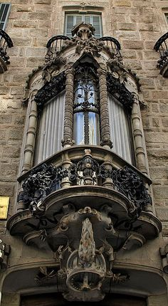 Not your regular window. Architecture Cool, Art Nouveau Architecture, Balcony Design, Window Design, Antonio Gaudi, Beautiful Buildings, Modern Buildings, Architectural Elements, Windows And Doors