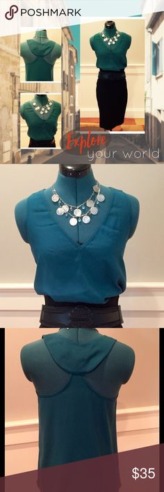 """*REDUCED!*Alisha Levine Stretch Silk Racerback Top Soft teal color silk/stretch fabric.  Beautiful """"scoop"""" racerback detail.  Length of shirt from top shoulder seam to bottom hem is approximately 24"""". Alisha Levine Tops Tank Tops"""