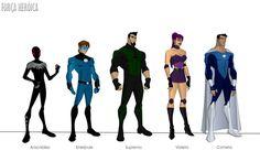 """vetorização de mais alguns personagens da """"Força Heróica"""" feitos com base nos desenhos de Phil Bourassa #Aracnídeo criado por: Daniel Alves #Enerjoule criado por: Vinicius ..."""