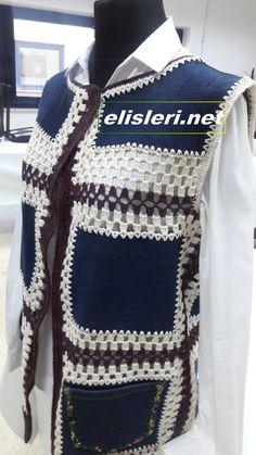Eski Kot Pantolondan Yelek Nasıl Yapılır. – El İşlerimiz Old Jeans, Crochet Clothes, Christmas Sweaters, Lace Dress, Upcycle, Men Sweater, Vest, Knitting, Jackets