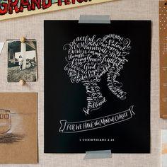 Bible Verse Calligraphy Art Print